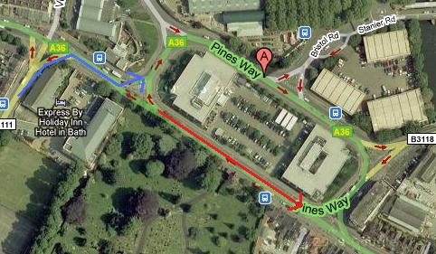 Arrow biru menunjukkan arah perjalananku, arrow merah arah perjalanan perempuan mat saleh tersebut